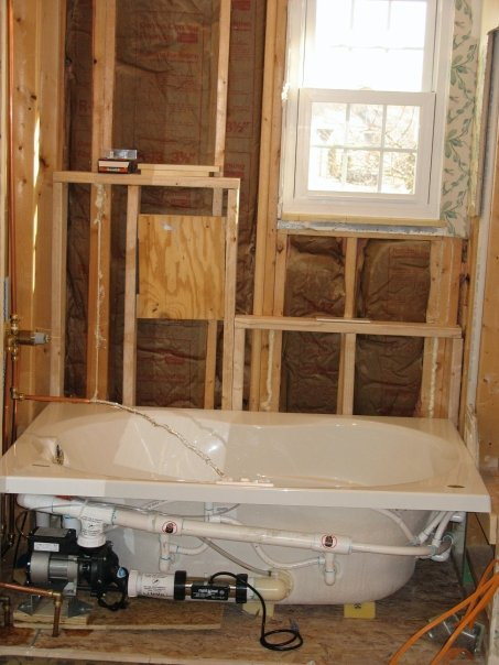 The new framing and the tub installed, about March 2008