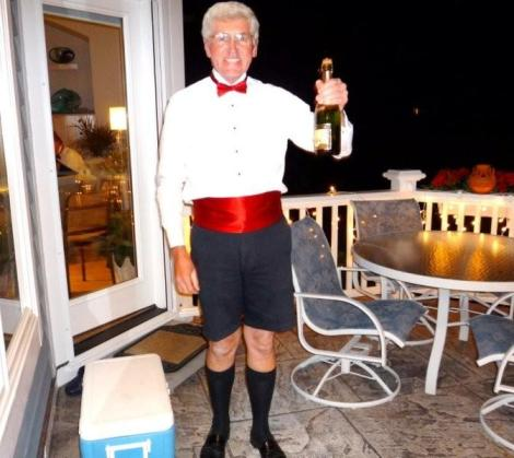 Instead of his tux pants, Dad celebrated the new year in his Bermuda shorts.