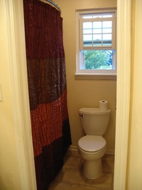 Fabulous new shower curtain in brown, garnet and orange. Love the punch of color against the less-dramatic walls.